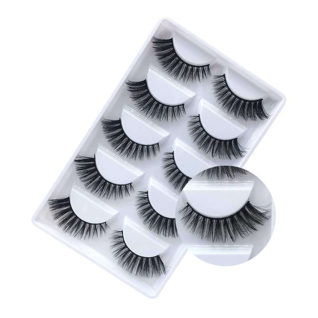 100% Handmade Mink False Eyelashes Criss-cross Wispy Cross Fluffy Soft Thick 3D Multi-layer Lashes(G806, 5 Pairs)