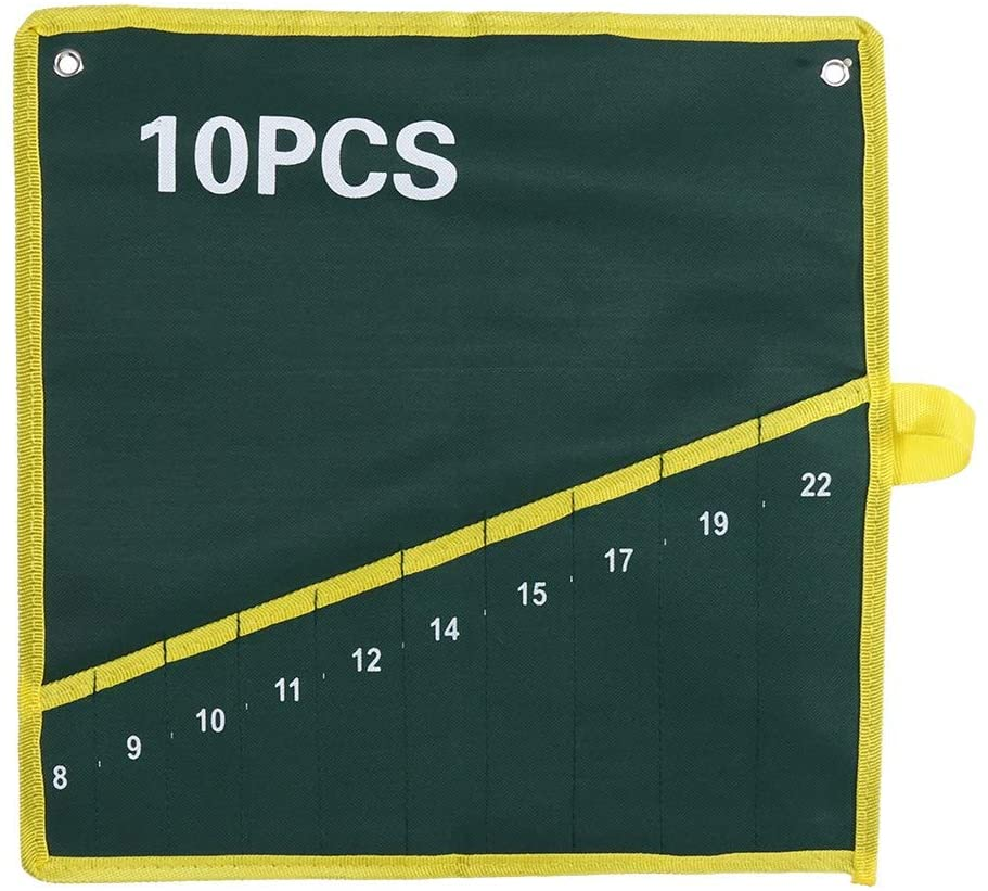 GOTOTOP Roll Up Tools Bag Set, 6/10Pcs Durable Canvas Spanner Plier Wrench Tool Storage Bags Pouch Roll Up Bundle Type Hanging Bag,Green(10 Pockets)