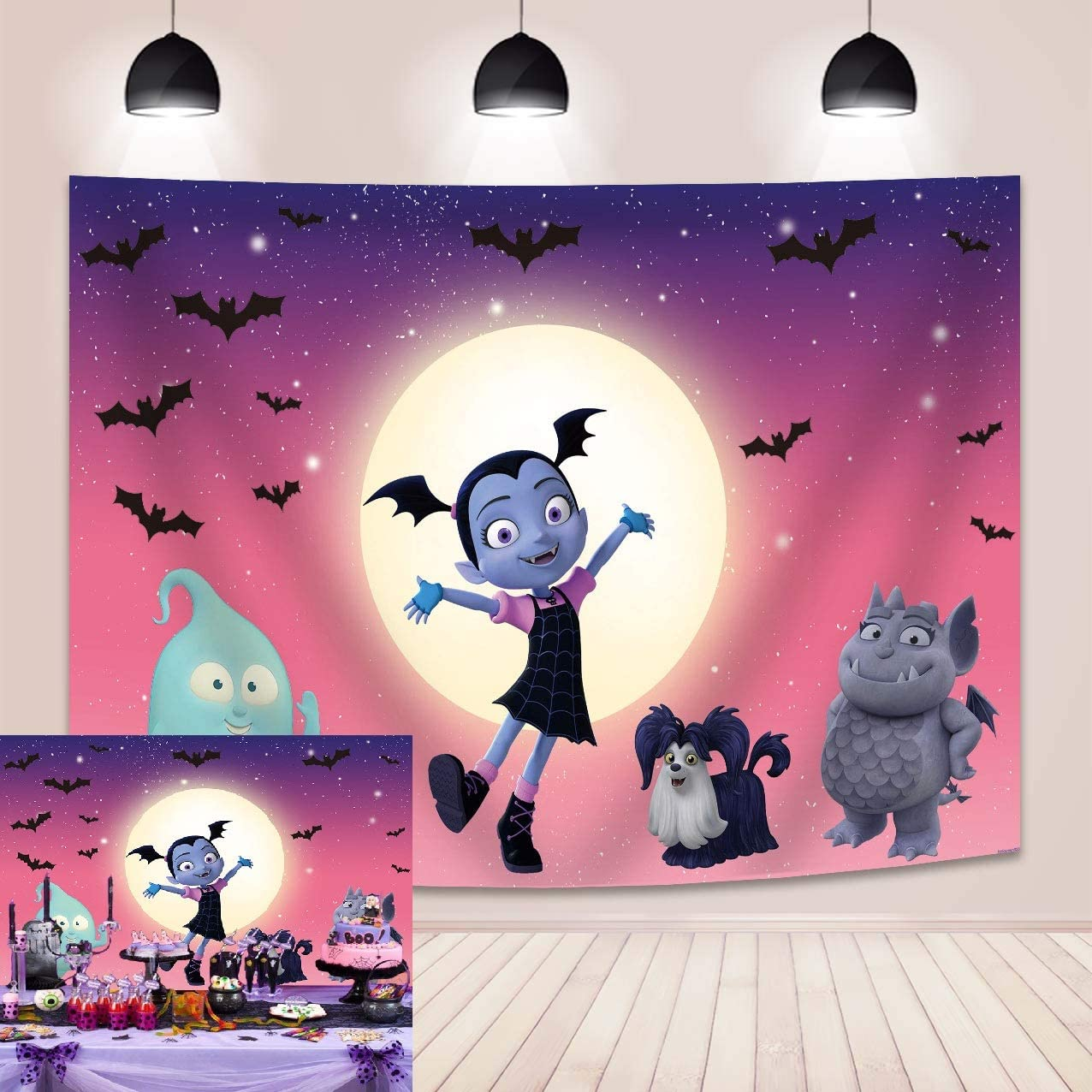 Halloween Backdrop Pink Vampirina Girl Moon Bat Ghost Photography Background Halloween Theme Party Decoration Photo Studio Props 5x3FT
