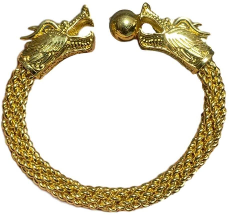 LAOJUNLU Vintage Gold Bracelet Gold Circlet Brass Gilt Play Beads Double Dragon Circlet Dragon