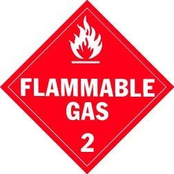Flammable Gas Placard, Package of 25
