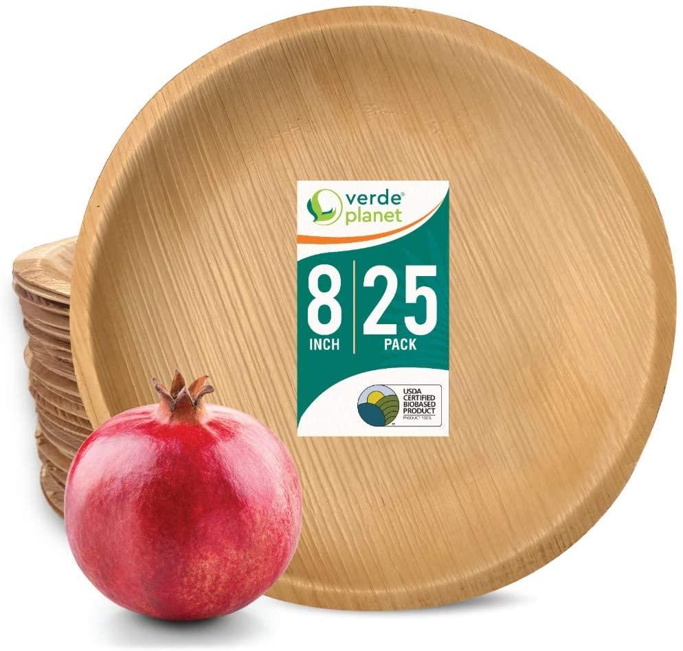 Verde Planet - 8 inch Round Palm Leaf Plates - Biodegradable, Ecofriendly, Disposable, Sturdy, Elegant, Premium Quality Plates - 25 Count