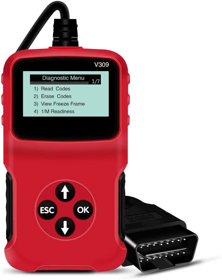 YiIinet Auto Scan Diagnostic Tool V309 Classic Enhanced Universal OBD II Scanner Car Engine Fault Code Reader CAN Diagnostic Scan Tool Red