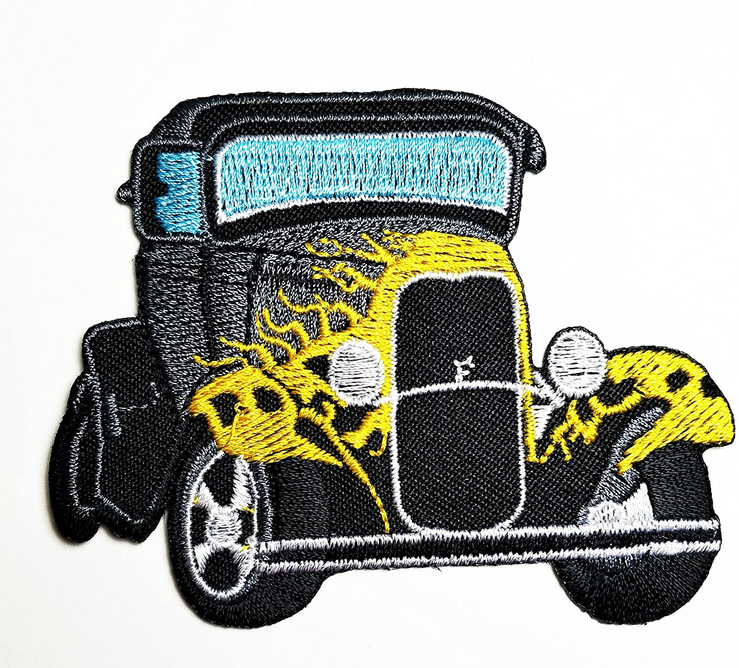 HHO Classic Old Car Cartoon Patch Embroidered DIY Patches, Cute Applique Sew Iron on Kids Craft Patch for Bags Jackets Jeans Clothes