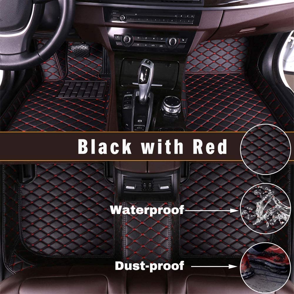 Maidao Custom Car Floor Mats for Honda Shuttle 14-18 Can Be Customized for 99% of Car Models Can Be Customized Pattern Or Logo Waterproof Non-Slip Leather Liner Set Black red