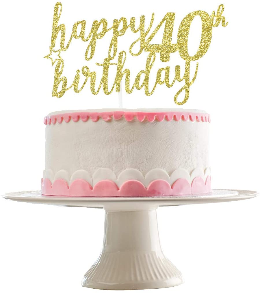 Happy 40th Birthday Cake Topper- 40th Birthday Party Decorations,40th Birthday Cake Topper,40th Anniversary Party Decor(Gold Glittery )