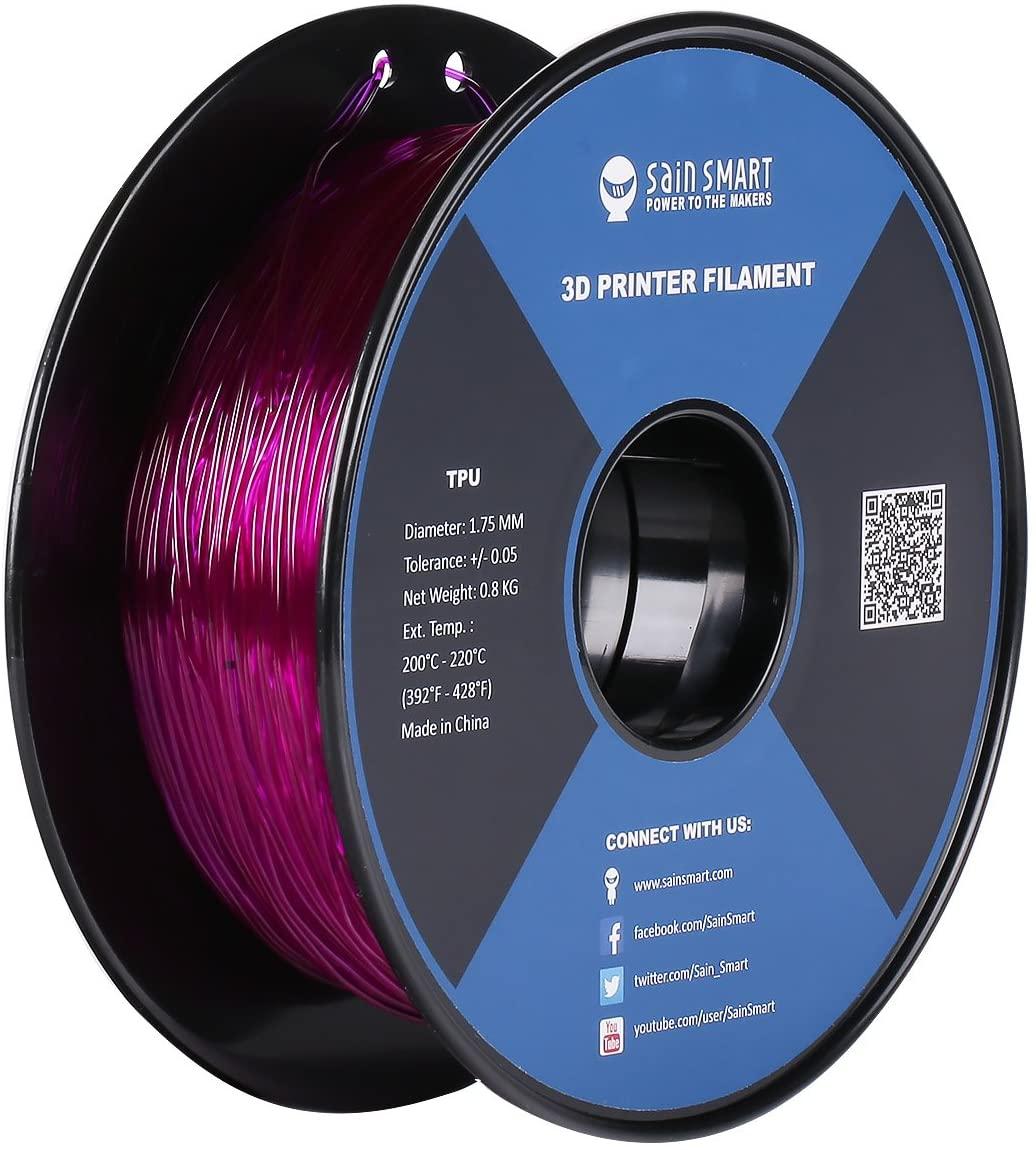 SainSmart - TPU-PUR-0.8KG1.75 Purple Flexible TPU 3D Printing Filament, 1.75 mm, 0.8 kg, Dimensional Accuracy +/- 0.05 mm