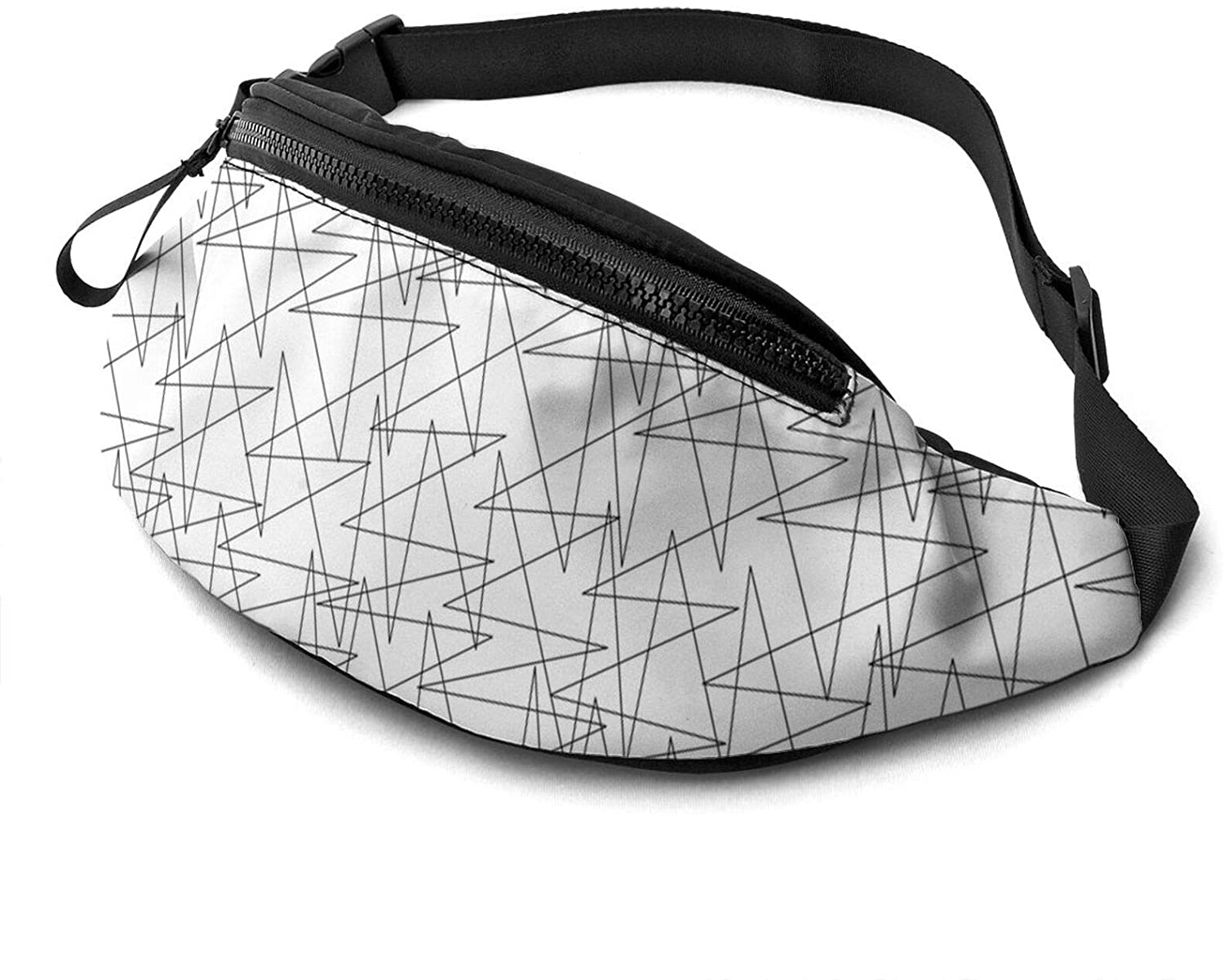 Dujiea Fanny Pack, Black And White Lines Waist Bag With Headphone Hole Belt Bag Adjustable Sling Pocket Fashion Hip Bum Bag For Women Men Kids Outdoors Casual Travelling Hiking Cycling