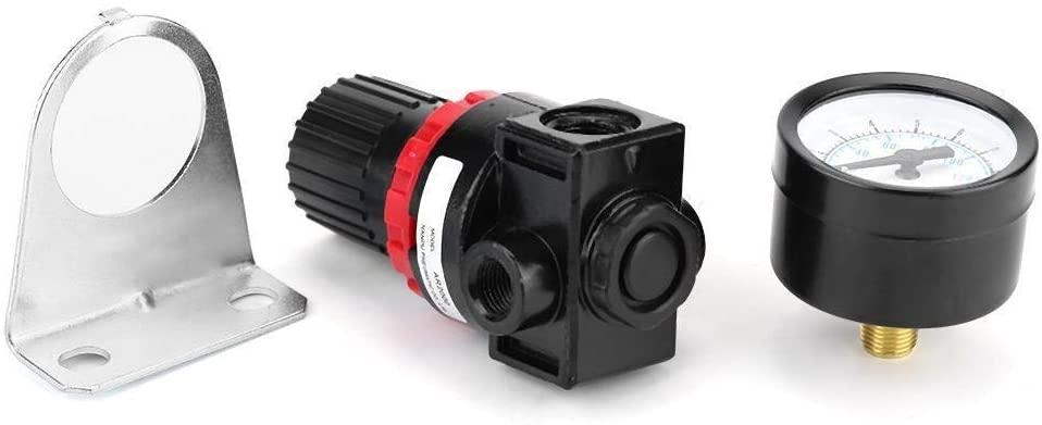 TKSE G1/4 Pneumatic Regulator Adjustable Air Pressure Compressor Control Valve Gauge with Bracket
