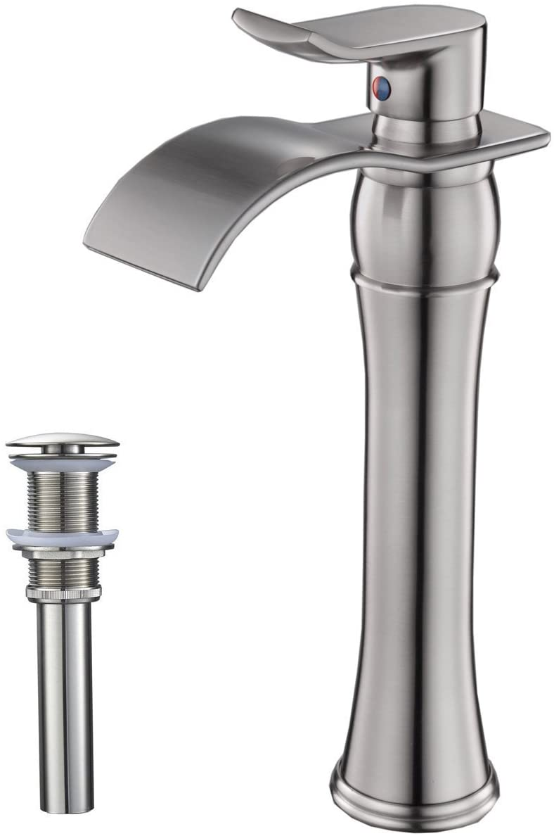 Homevacious Waterfall Bathroom Vessel Sink Faucet Brushed Nickel Single Handle Tall Bath Lavatory One Hole with Pop Up Drain Assembly Stopper Without Overflow Mixer Tap Hose Commercial Lead-Free