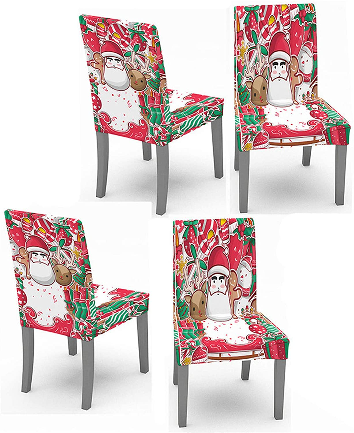 Crafttable 4pcs Stretch Dining Chair Slipcovers, Christmas Printed Chair Cover Seat Slipcover for Kitchen Home Hotel, 04