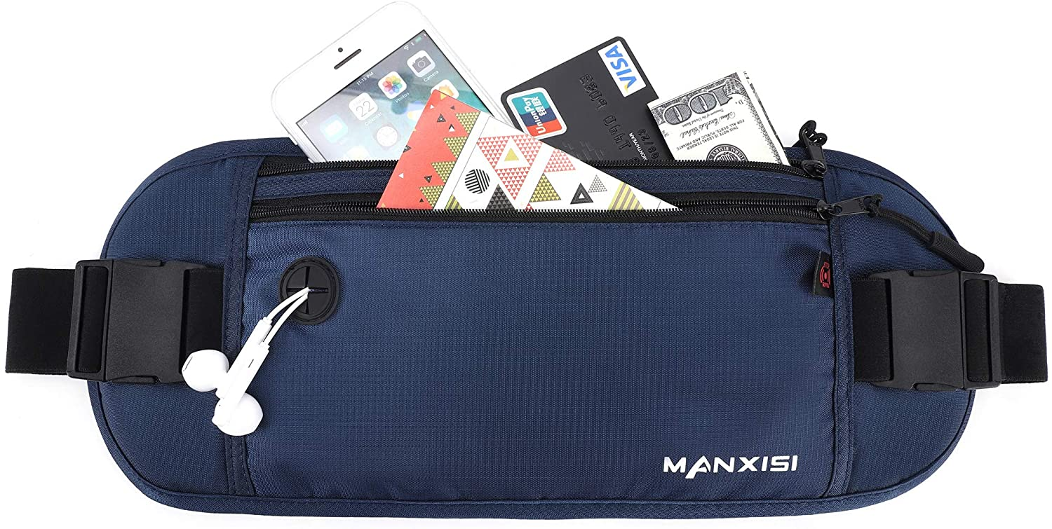 MANXISI Running Fanny Pack Runners Belt Travel Wallets with RFID Blocking Slim Soft Nylon Lightweight Water Resistant Durable Running Pouch Sport Waist Packs Bag for Women Men