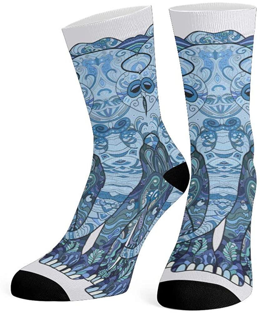 XOZOTY Custom Funny Novelty Black&White Elephants Crew Socks for Mens Womens