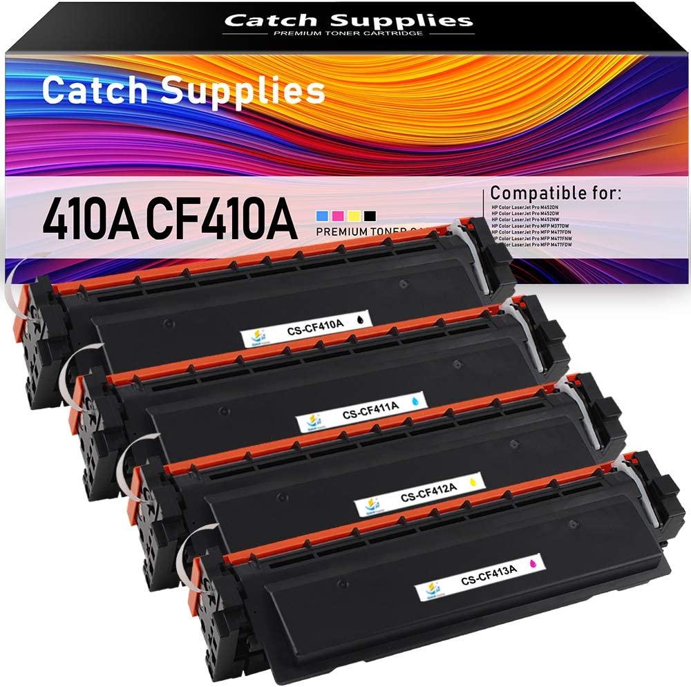 Catch Supplies Compatible Toner Cartridge Replacement for HP 410A CF410A CF411A 410X CF410X Laserjet Pro M477fnw M477fdw M477fdn M452dw M452dn M452nw M477 Printer (Black Cyan Yellow Magenta, 4-Pack)