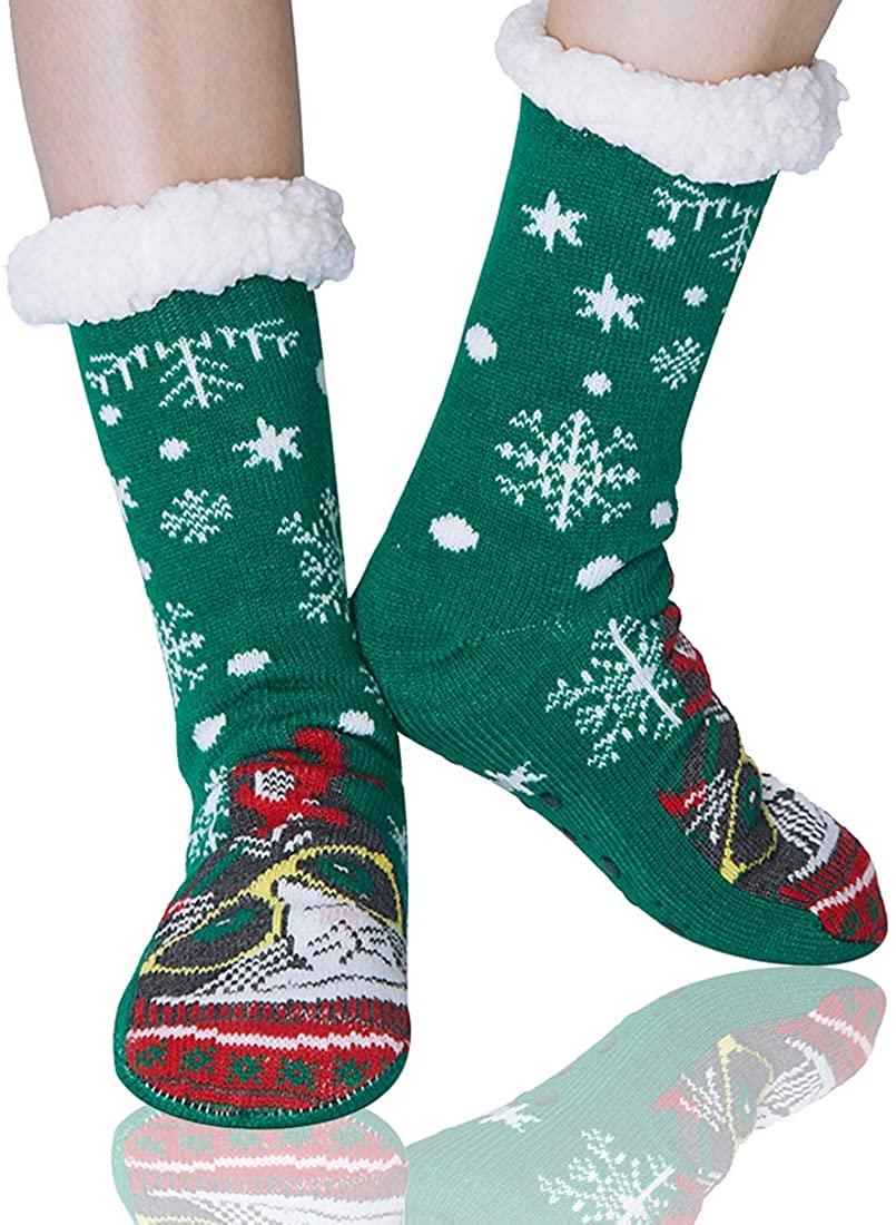 AIDEAONE Women's Christmas Slipper Socks Fleece Lining Fuzzy Winter Knit Stockings Xmas Gift Non-Slip Floor Socks