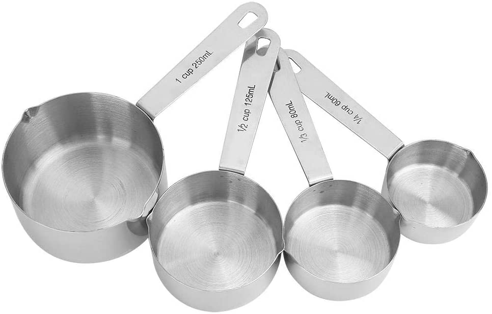 4Pcs/set Measuring Spoons Cups Stainless Steel Tableware Kitchen Baking Tools for Measuring Coffee Pet Food Grains Protein Spices Dry Goods