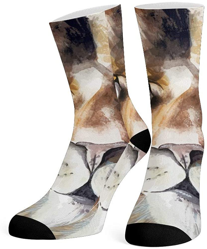 XOZOTY Custom Funny Novelty Watercolor Cool Lion Face Crew Socks for Mens Womens