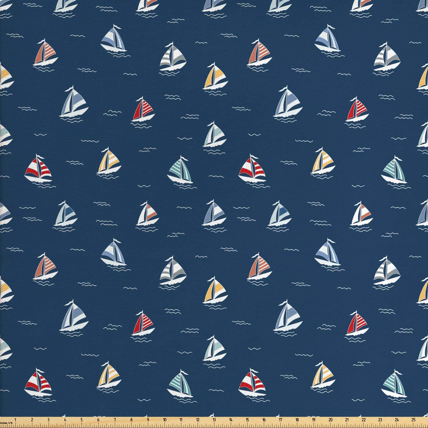 Ambesonne Maritime Fabric by The Yard, Minimal Colorful Sailboats Pattern of Line Art Waves Ocean Themed, Decorative Fabric for Upholstery and Home Accents, 1 Yard, Dark Sky Blue Multicolor
