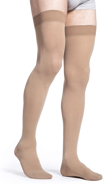 SIGVARIS Men's Essential Cotton 230 Closed Toe Thigh-Highs w/Grip Top 30-40mmHg