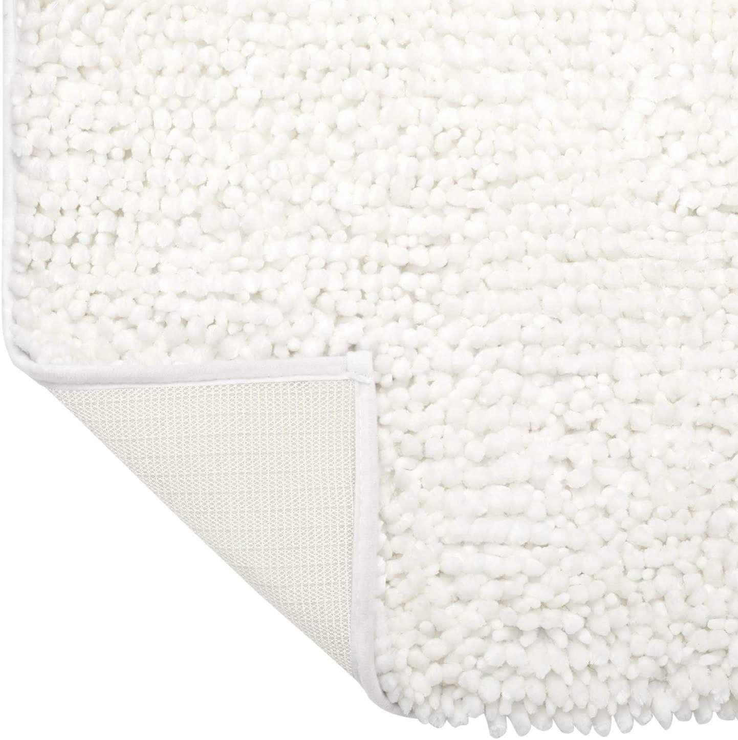 HOMEIDEAS Luxurious Butter Chenille White Bathroom Rug Mat Absorbent Non Slip - Extra Soft Shag Bath Rug, Bath Mat for Tub, Shower & Bathroom - 17x24 inch