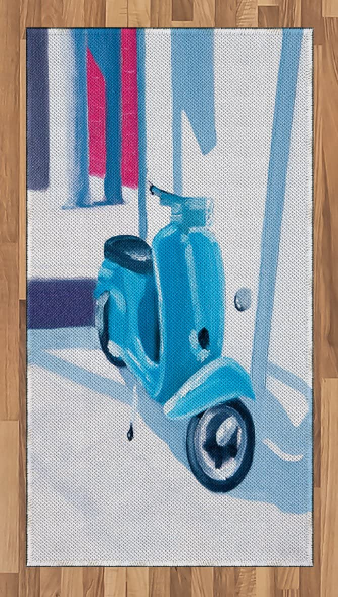 Ambesonne Country Area Rug, Mini Scooter in Soft Mediterranean Mid Day Italian Town Life Art Paint Print, Flat Woven Accent Rug for Living Room Bedroom Dining Room, 2.6' x 5', Blue Grey