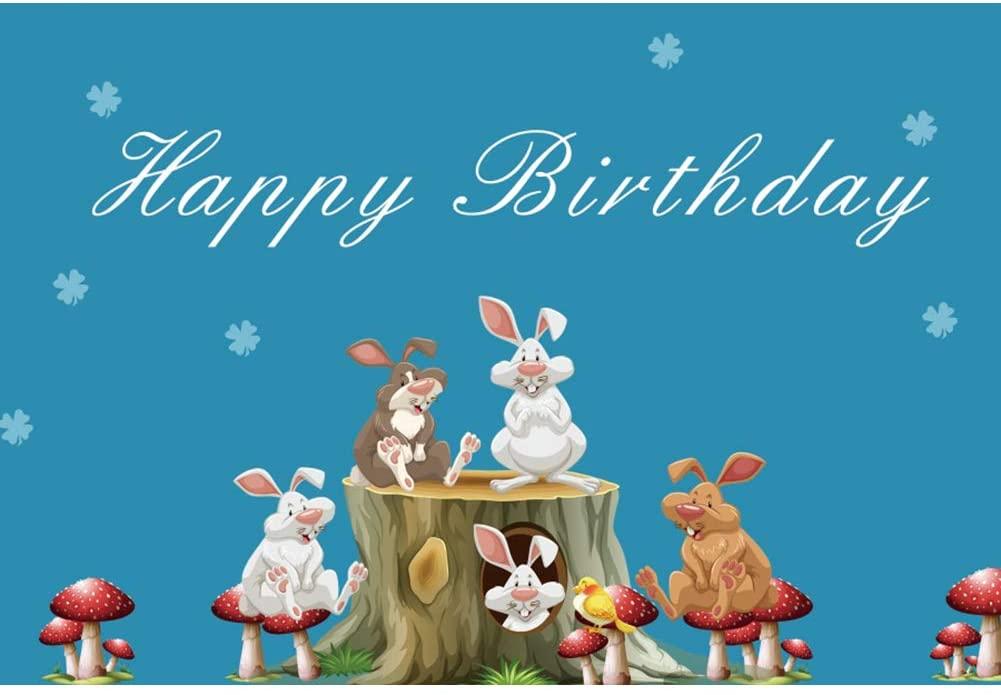 YongFoto 8x6.5ft Happy Birthday Backdrop Cartoon Rabbit Woods Photography Background Children Birthday Party Banner Cake Table Baby Shower Supplies Kids Newborn Portrait Photo Studio Props Wallpaper