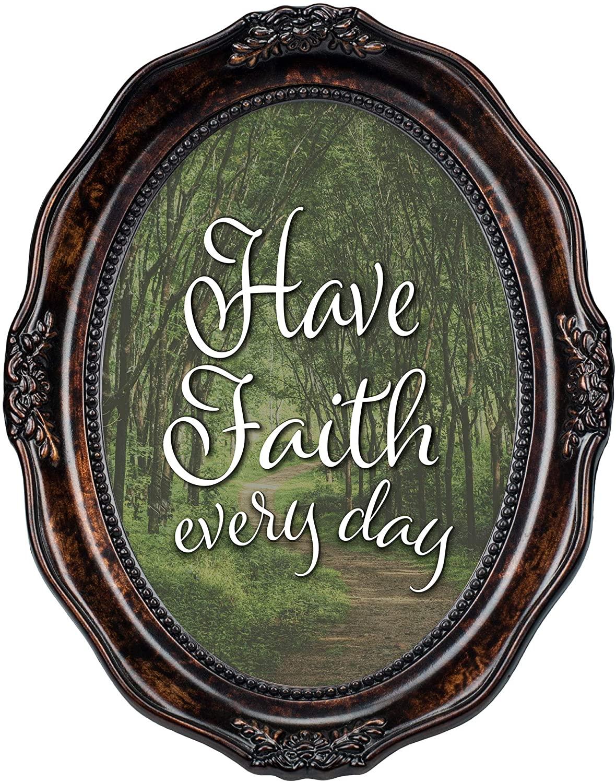 Cottage Garden Faith Every Day Burlwood Finish Wavy 5 x 7 Oval Table and Wall Photo Frame