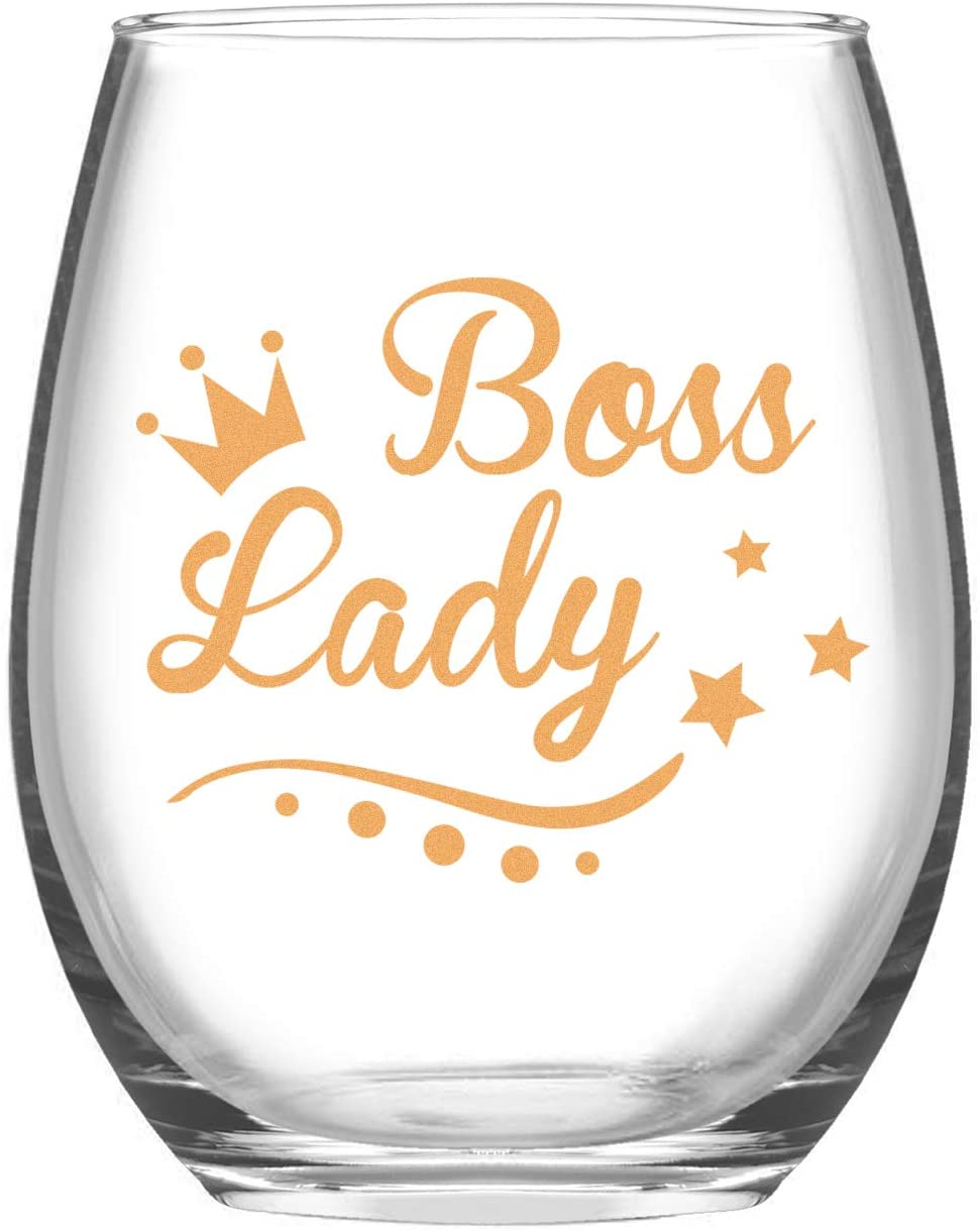 Female Boss Gift - Boss Lady Stemless Wine Glass 15 Oz, Bosses Day Gift for Women Boss Sister Mother Aunt Wife Girlfriend Coworker, Special Boss Wine Glass for Bosses Day Christmas Birthday Daily Use