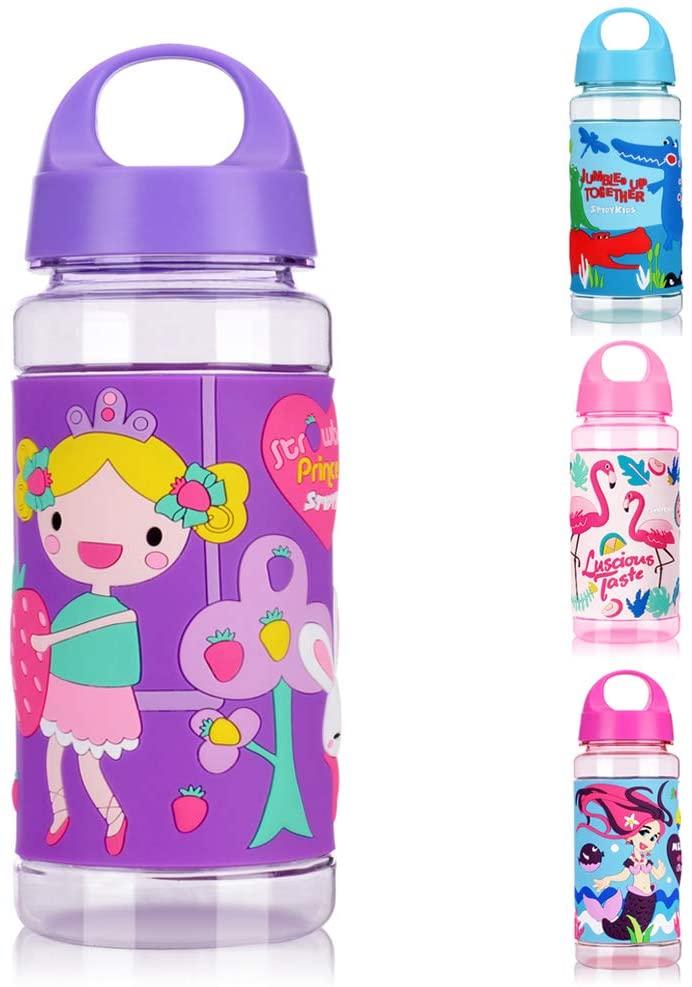 eulogize Kids Water Bottle with Effect Soft Plastic Sleeve, Leakproof BPA Free Tritan Sports Water Bottle, for School 18 oz