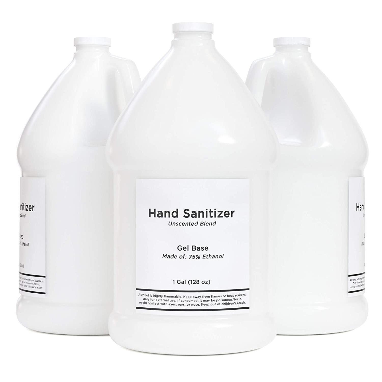 VINEVIDA Alcohol Based Hand Sanitizer and Moisturizing Gel - 75% Ethyl Alcohol - 1 Gallon Hand Sanitizer Unscented Sanitizer - Bulk Hand Sanitizer Gallon for Home or Office - 3.8 L (128 Oz) (12 Pack)