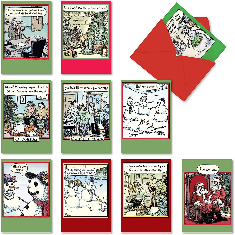 10 Boxed 'Bizarro by Piraro Christmas' Assorted Funny Christmas Cards w/ Envelopes - Featuring Hilarious Merry Xmas Cards - Cartoon Art by Dan Piraro - Happy Holidays Variety Box A5545XSG-B1x10