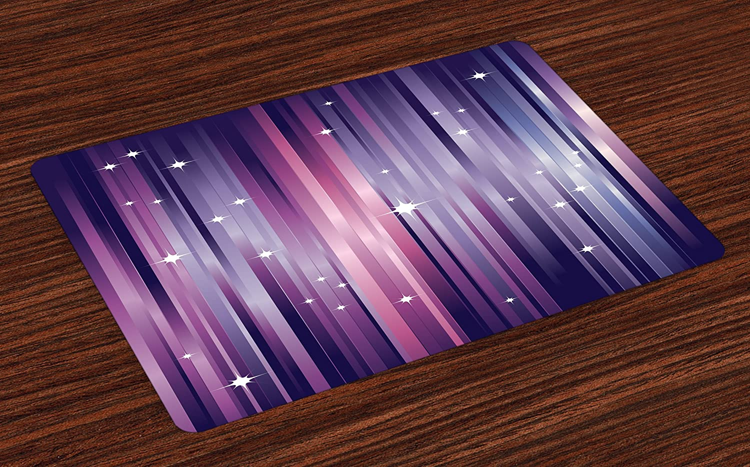 Ambesonne Eggplant Place Mats Set of 4, Abstract Colourful Beams Backdrop with White Stars Space Inspired Purple Lines, Washable Fabric Placemats for Dining Room Kitchen Table Decor, Multicolor