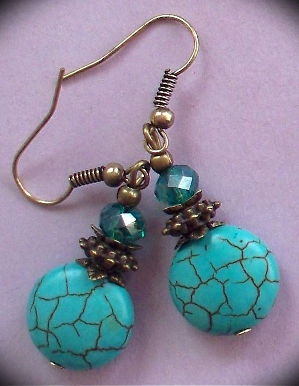 Blue HOWLITE Teal Crystal Earring Bronze Amazing handcrafting Accessory for Your Perfect and Fashion Look by CharmingSS