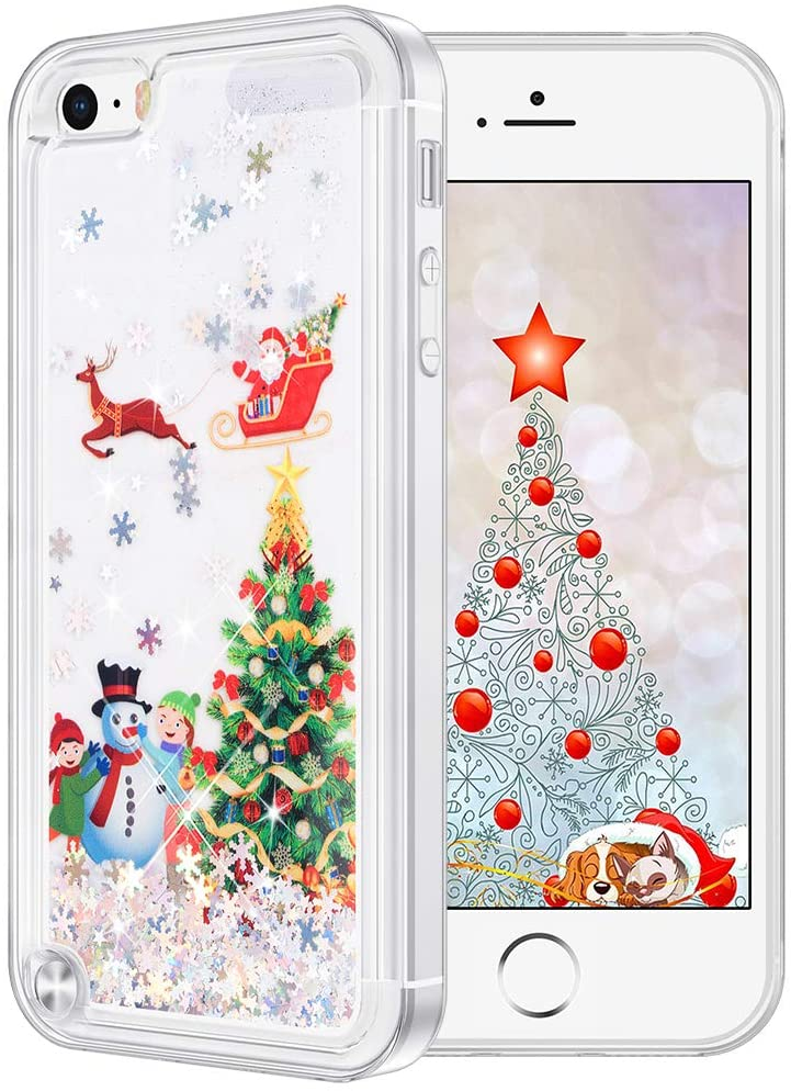 Maxdara Christmas Case for iPod Touch 5 6 7, Touch 5 6 7 Generation Merry Christmas Tree Pattern Glitter Liquid Bling Sparkle Pretty Cute Case for Girls Children Women Gifts(Tree)