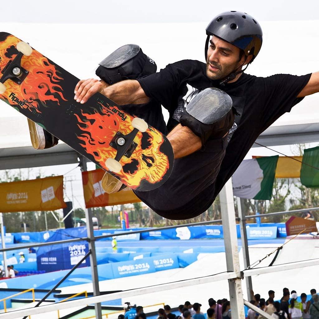 Baohooya Fire Skull Skateboards for Beginners, 31.5