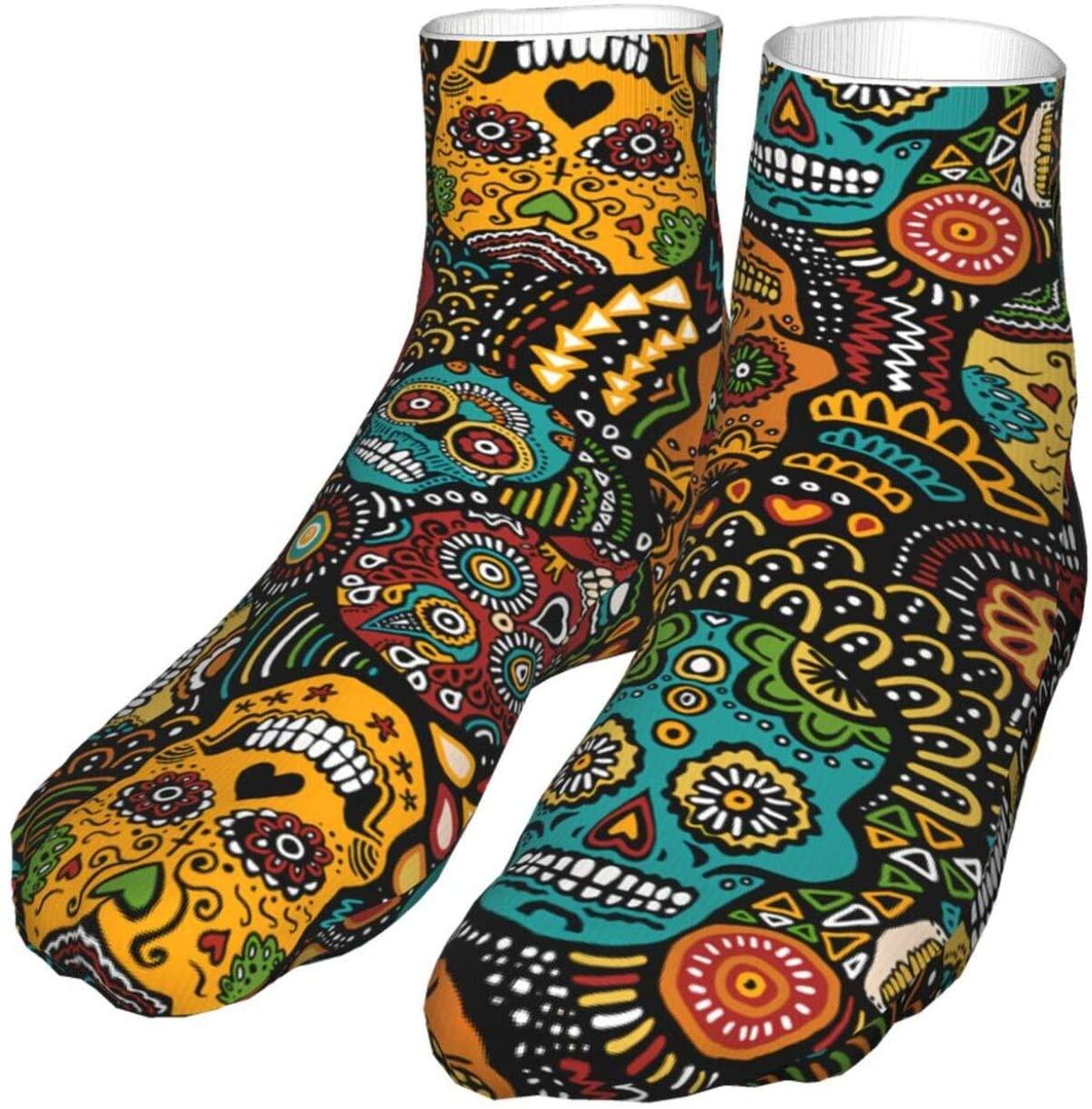antcreptson Mexican Sugar Skulls Sugar Skulls Athletic Hiking Crew Socks Womens Mens Socks Soft Thick Cozy Warm Casual Compression Socks