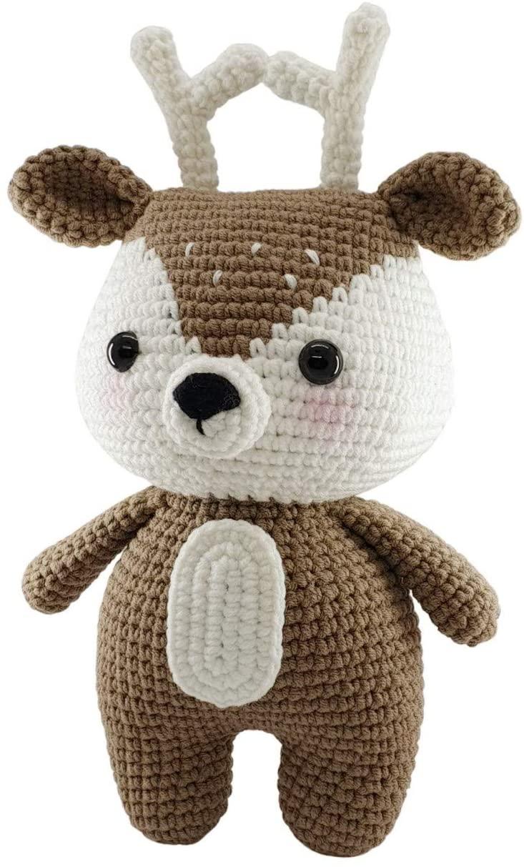 Frily   Bambi Deer Crochet   Handmade Knit Crochet Amigurumi   Cute Adorable Soft and Fun Realistic Baby Doll Stuff   99% Contton   Baby Stuff, Baby Girl Stuff, Stuffed Animal   9.5 Tall   Brown