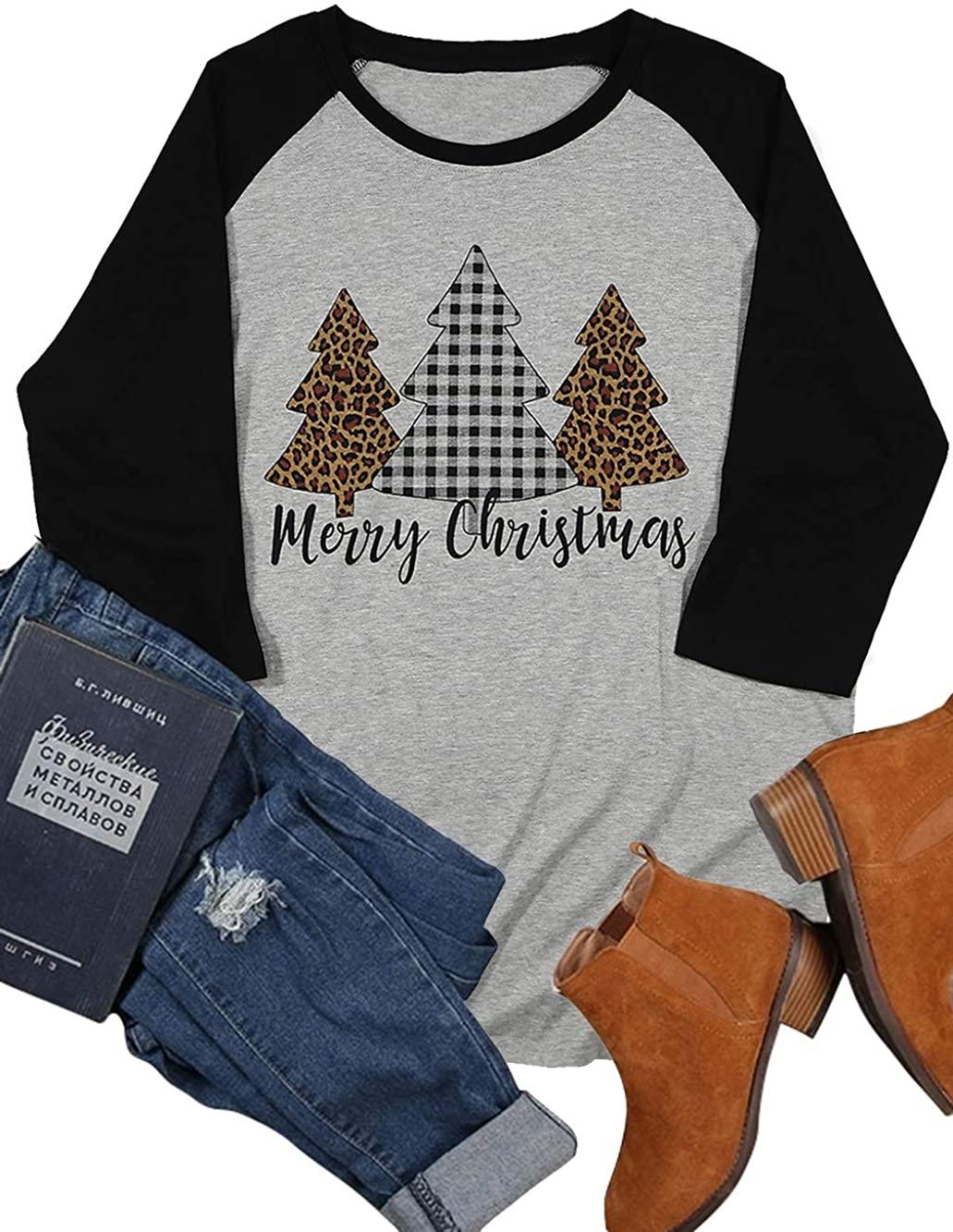 Plus Size Merry Christmas Plaid Leopard Printed Tree Baseball T Shirt Women 3/4 Sleeve Splicing Blouse Tops