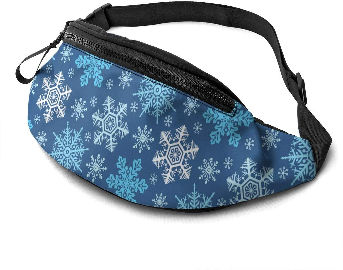 Dujiea Fanny Pack, Snowflakes Waist Bag with Headphone Hole Belt Bag Adjustable Sling Pocket Fashion Hip Bum Bag for Women Men Kids Outdoors Casual Travelling Hiking Cycling