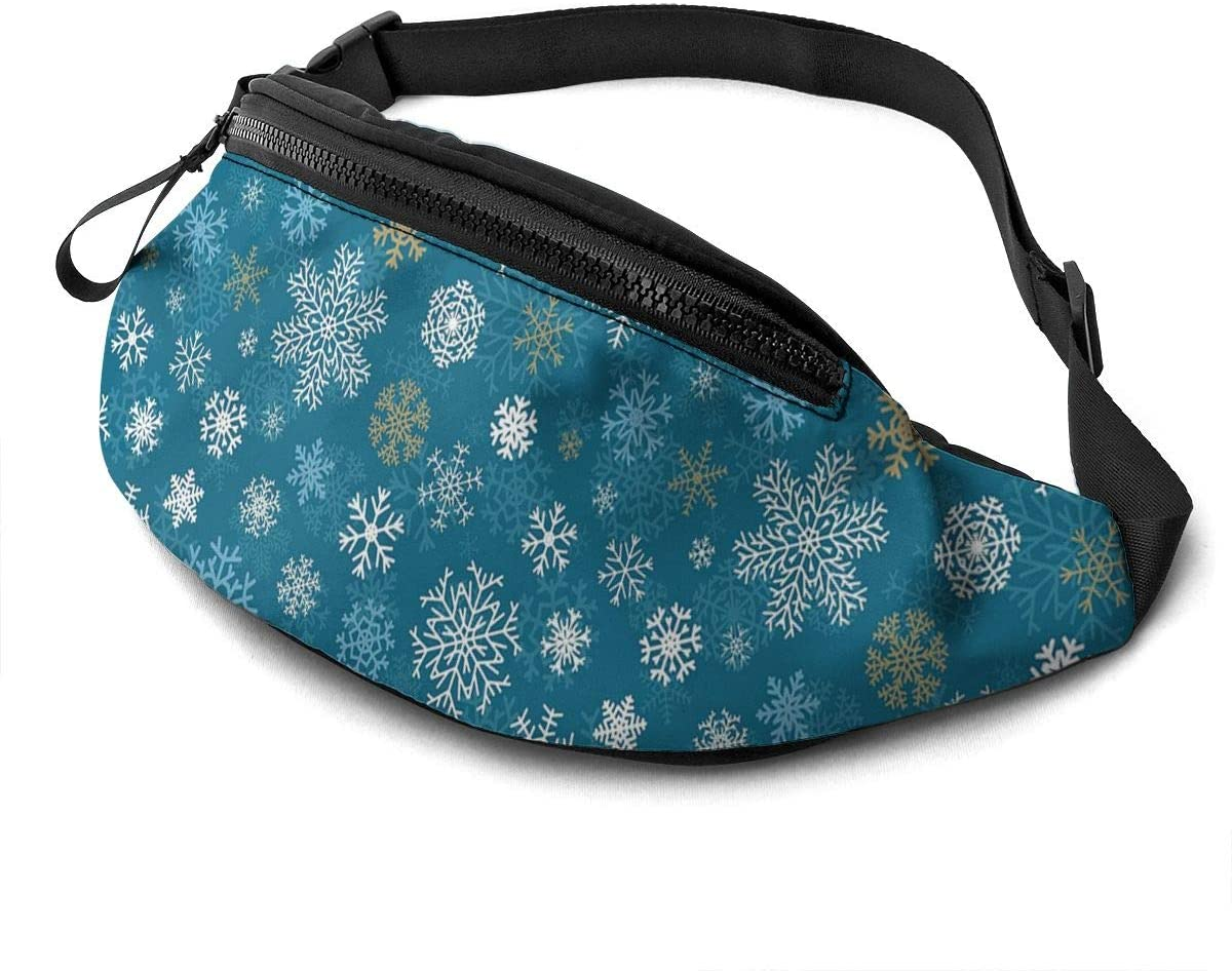 Dujiea Fanny Pack, Christmas Snowflakes Blue Waist Bag with Headphone Hole Belt Bag Adjustable Sling Pocket Fashion Hip Bum Bag for Women Men Kids Outdoors Casual Travelling Hiking Cycling