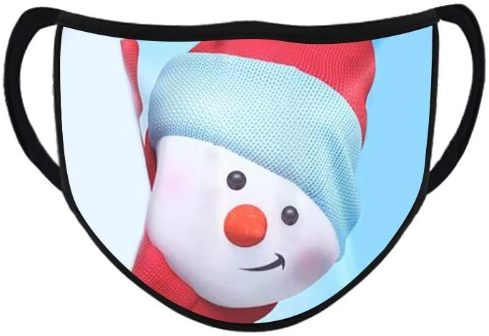 Cute Cartoon Merry Christmas Face Bandanas Windproof Anti Reusable Comfortable Breathable Mask For Women Men