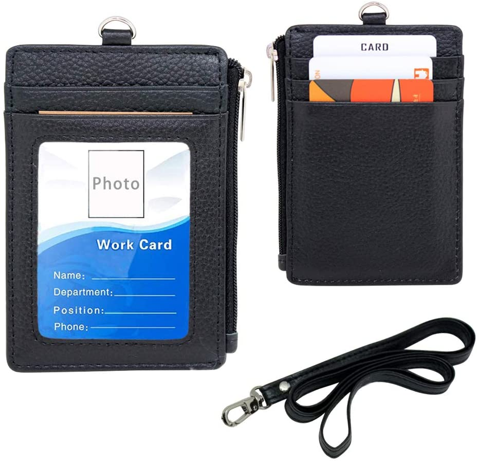 Badge Holder with Zipper - Boshiho Genuine Leather ID Badge Card Holder Wallet with 18.5