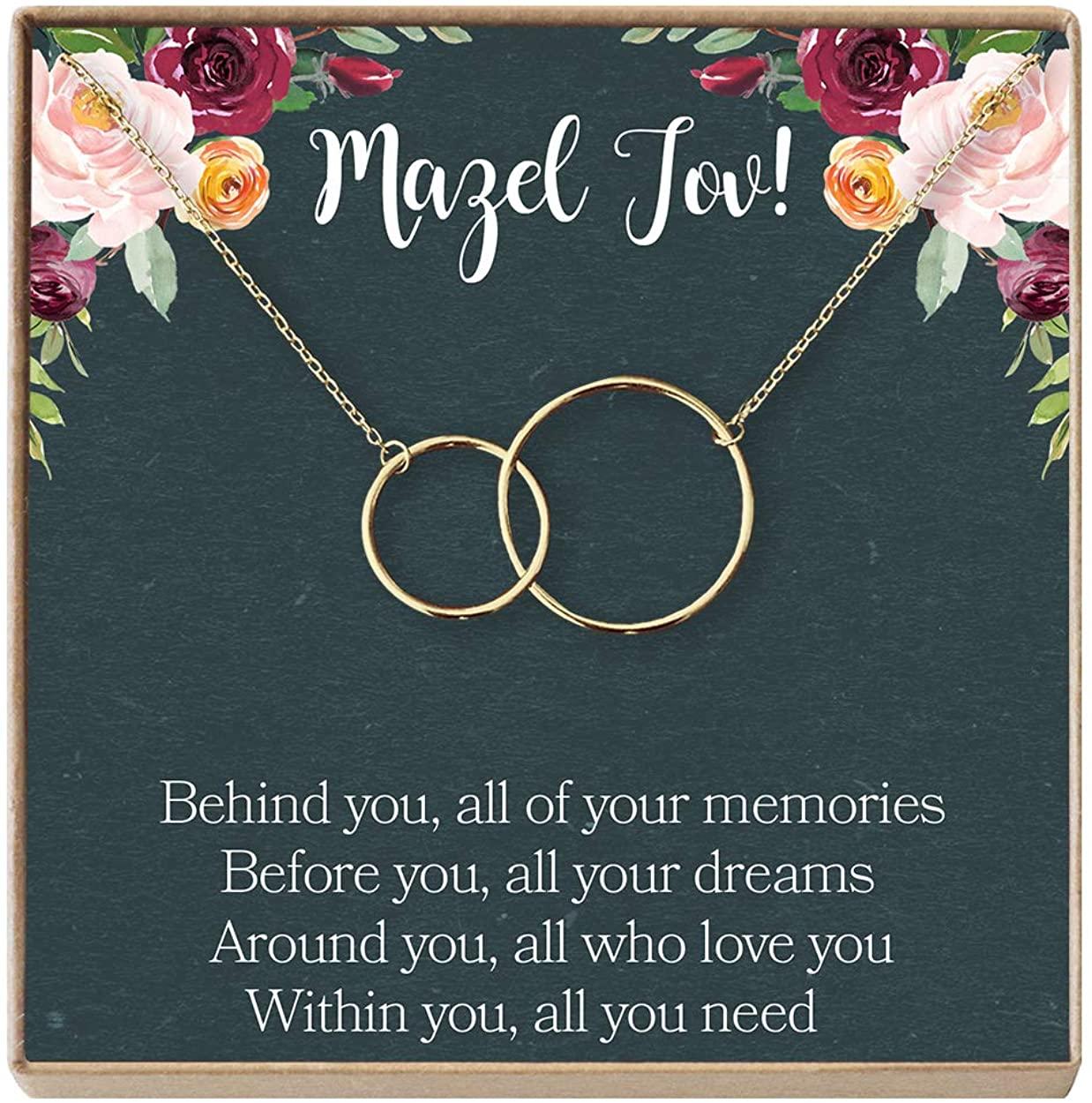 Bat Mitzvah Gift Neckalce: Jewish Jewelry, Mazel Tov, 2 Interlocking Circles (gold-plated-brass, NA)
