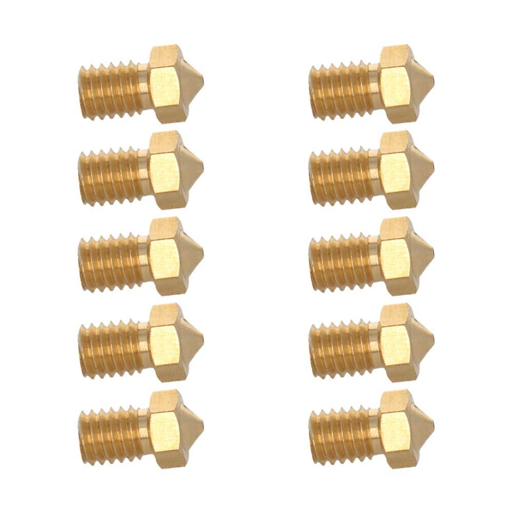 MroMax 10Pcs 3D Printer Nozzle,Brass Nozzle 0.8mm,Extruder Print Head for 1.75mm Filament V5-V6 M6 3D Printer