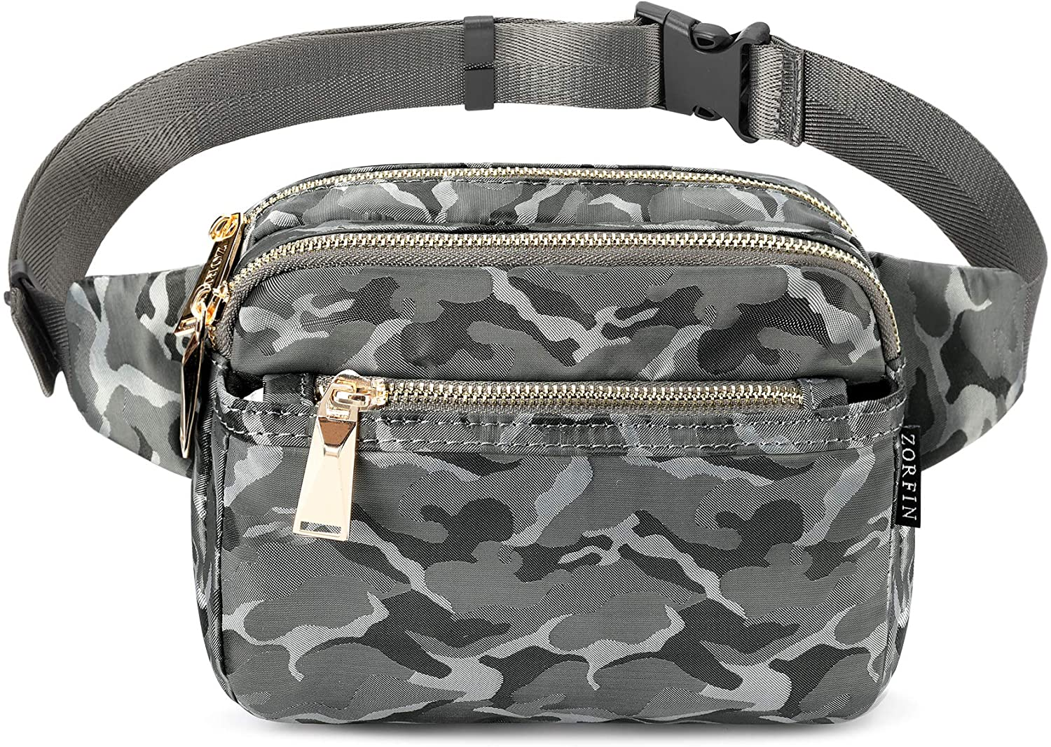 ZORFIN Fanny Pack for Women and Men, Multiple Pockets Waist Pack Belt Bags for Travelling Hiking Cycling (Camo Gray)