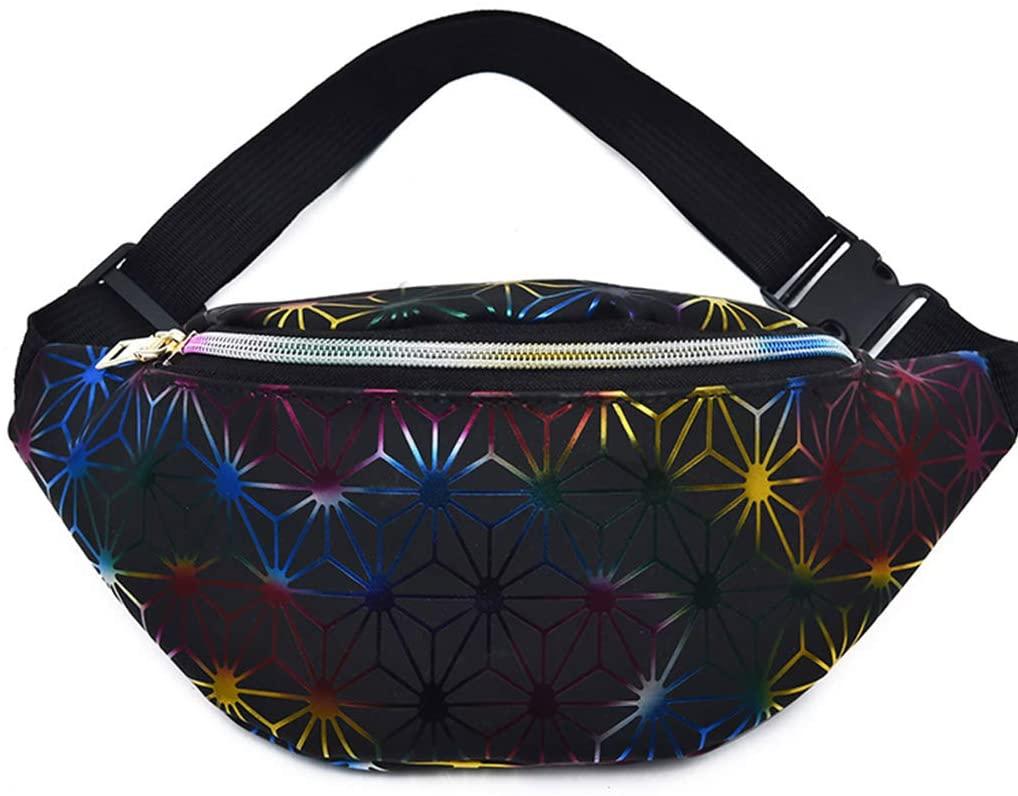 QINREN Women Faux Leather Fanny Pack Gradient Hologram Waist Bag Geometric Chest Purse,Black,Faux Leather