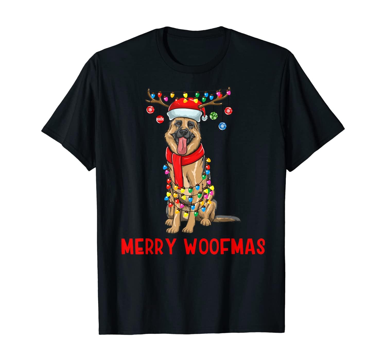 Christmas German Shepherd Dog Holiday Lights Merry Woofmas T-Shirt
