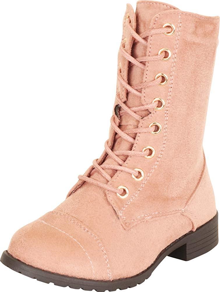 Cambridge Select Girls Lace-Up Classic Round Cap Toe Low Heel Combat Boot (Toddler/Little Kid/Big Kid)