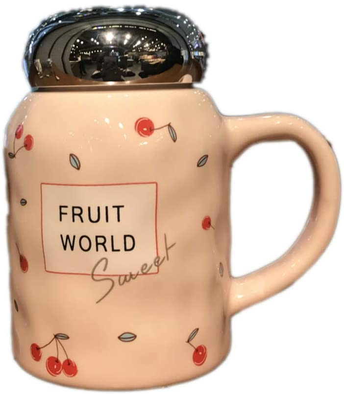 HONGYAN Korea Creative Fruit Ceramic Cup Large Capacity Mug Tea Cup Lovers Cup Student Cute Milk Cup With Cover