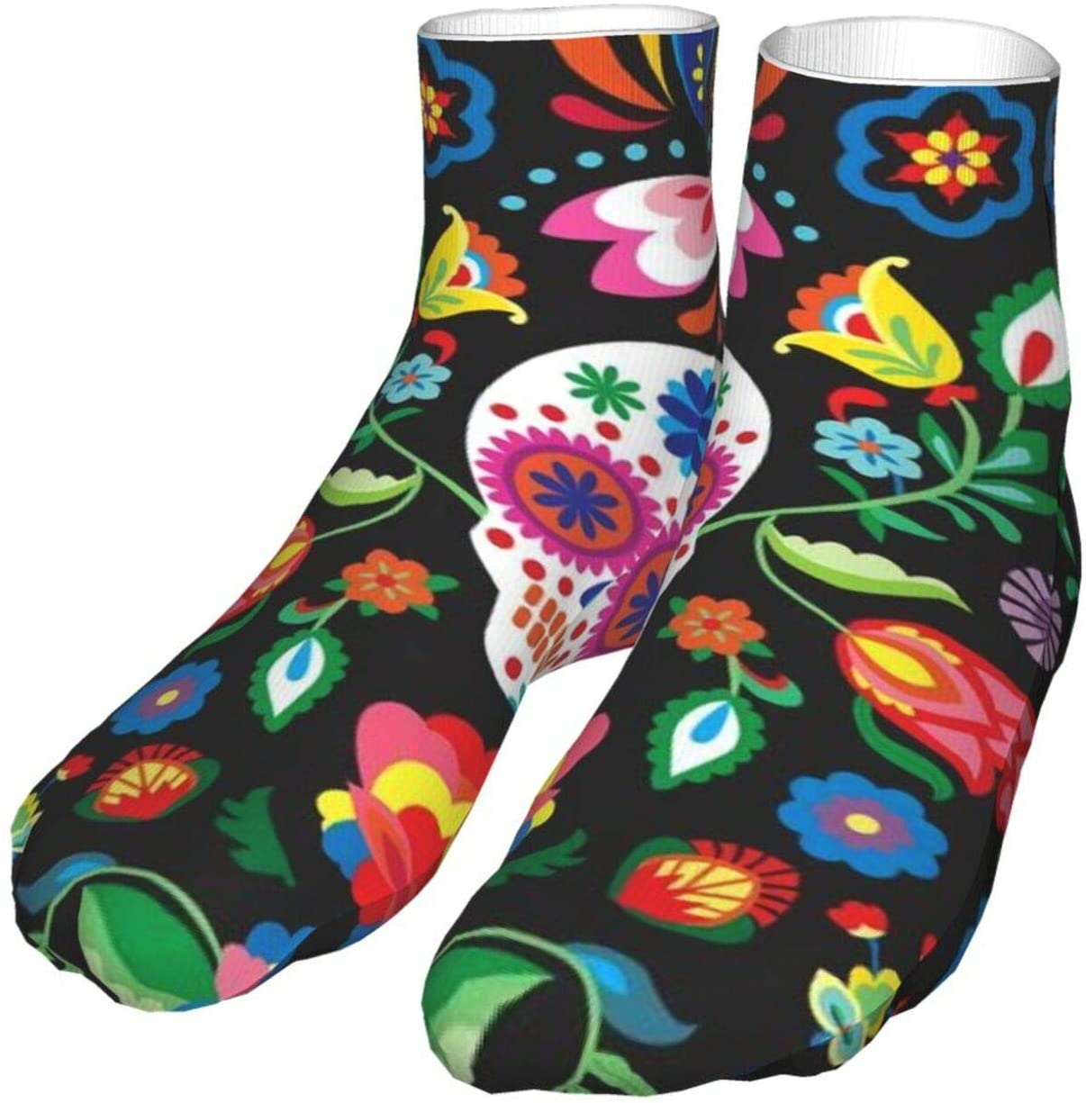 antcreptson Mexican Skull Compression Socks Unisex Printed Socks Crazy Patterned Fun Long Cotton Socks Over The Calf Tube